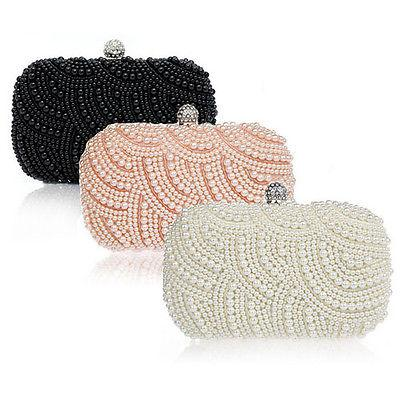 Handmade Beaded Pearl Evening Bag Clutch Crystal Purse Party Wedding Handbag