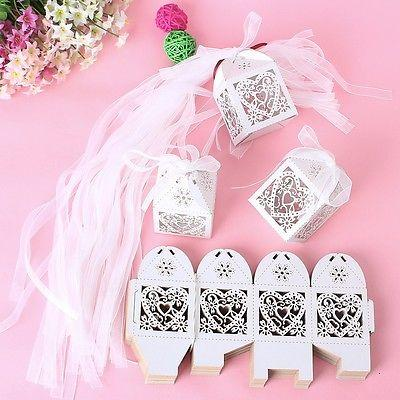 Свадьба - New 50PCS Love Heart Laser Cut Candy Gift Boxes With Ribbon Wedding Party Favor