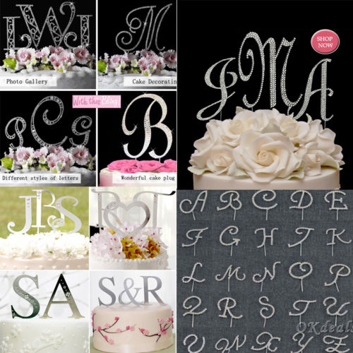 Alphabet Letter Rhinestone Crystal Monogram Wedding Cake Topper