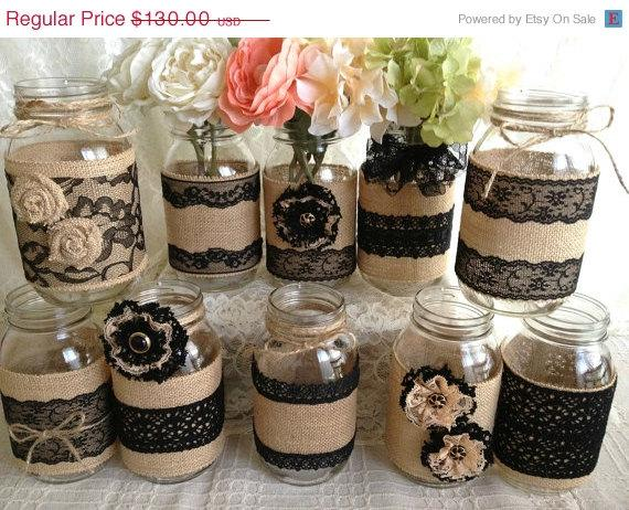 3 day sale 10x rustic burlap and black lace covered mason jar vases wedding decoration bridal shower engagement anniversary party decor