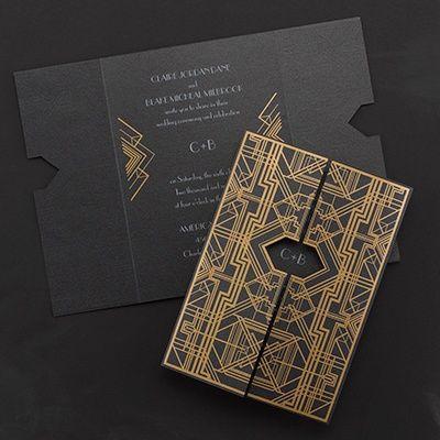 Mariage - Invitation Paper Gold