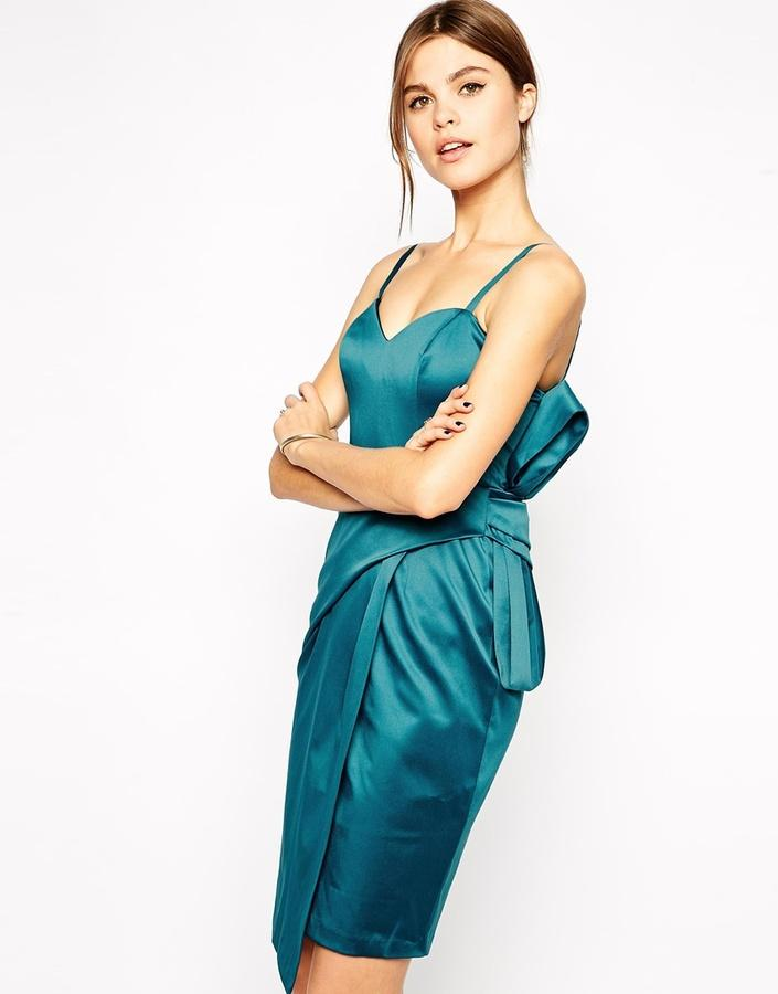 Satin Dresses - ASOS Satin Bow Pencil Dress #2157762 - Weddbook