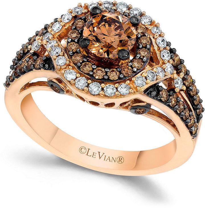 Wedding  Le Vian Chocolate and White Diamond Engagement Ring in 14k