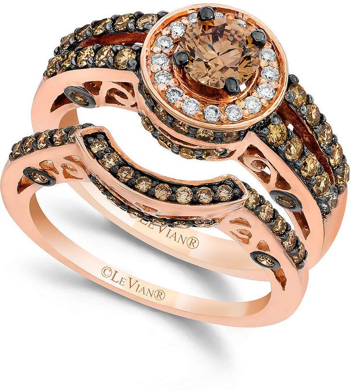 le vian chocolate and white diamond engagement band set in 14k rose gold 1 12 ct tw - Chocolate Diamond Wedding Ring
