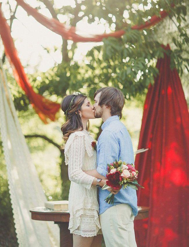 Bohemian Backyard Wedding : Wedding  Intimate Boho Backyard Wedding Jennie Zach