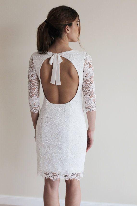 Wedding - Reception Dress, Short Wedding Dress With Open Back, Custom Made French Lace Dress