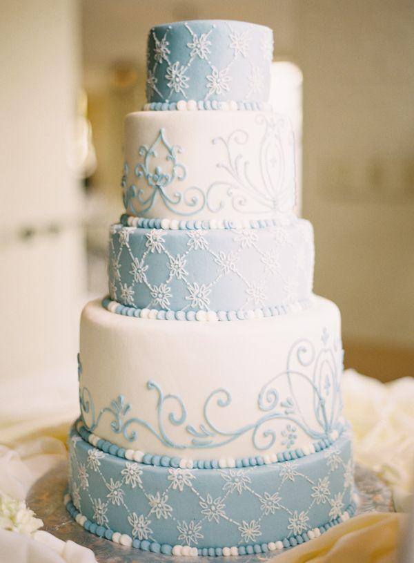Five Tier Round Blue And White Wedding Cake 2157959