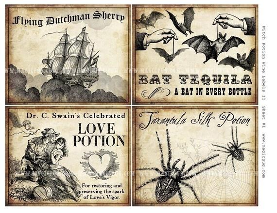 Hochzeit - Witch Wine Labels II 4x5 Digital Collage Sheet For Potions Halloween Dinner Parties