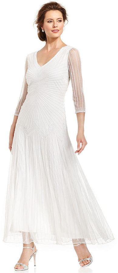 Pisarro Nights Three-Quarter-Sleeve Illusion Beaded Gown #2158238 ...