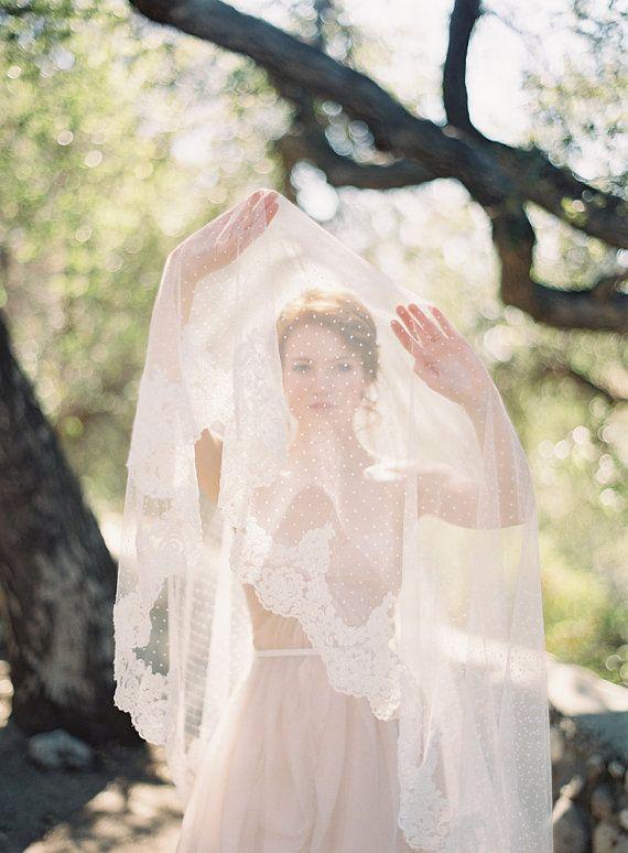 Hochzeit - Wedding Veil, Polka Dot Veil, Lace, Circular Lace Veil - Allure(new)
