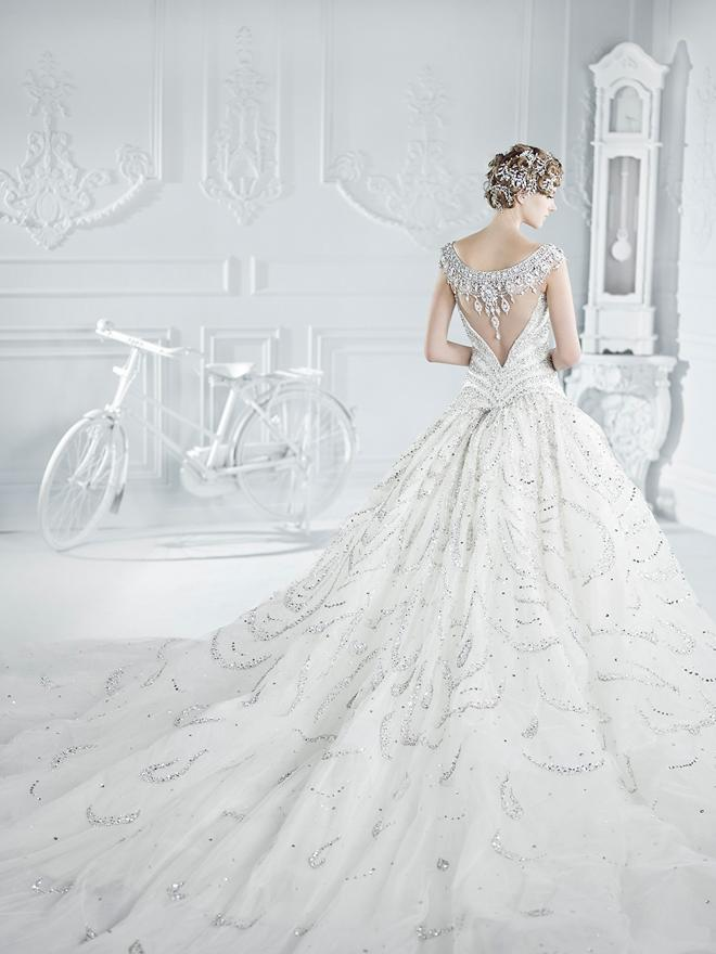 Yz New Gorgeous Luxurious Swarovski Crystals Y Back Wedding Dress