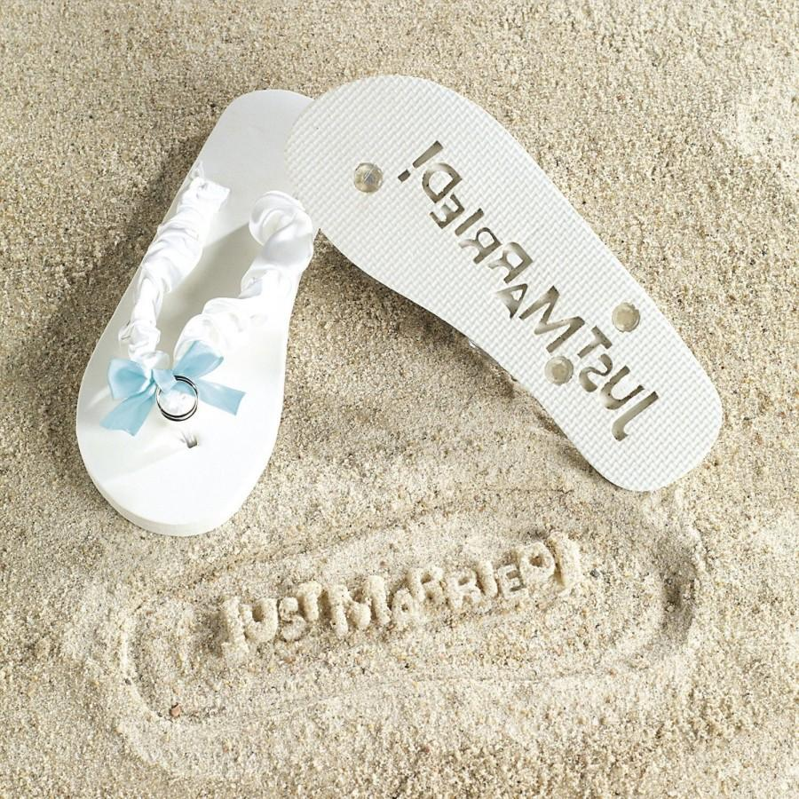 wedding just married white bride flip flops something blue wedding