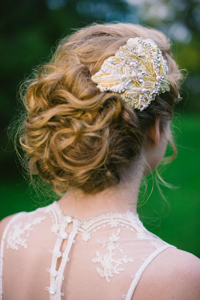 Wedding - Gold lace and pearl vintage inspired bridal headpiece hair comb(new)