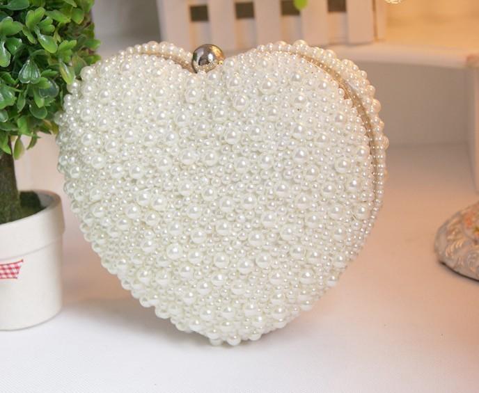 Women Handmade Heart Pearl Wedding Handbag Evening Clutch Bag Purse Party Bride New