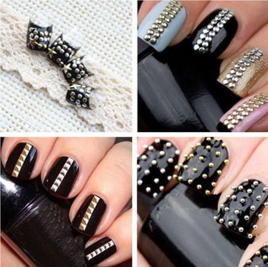 N98b 120360pcs 3d Nail Art Stickers Metal Studs Rhinestone Manicure