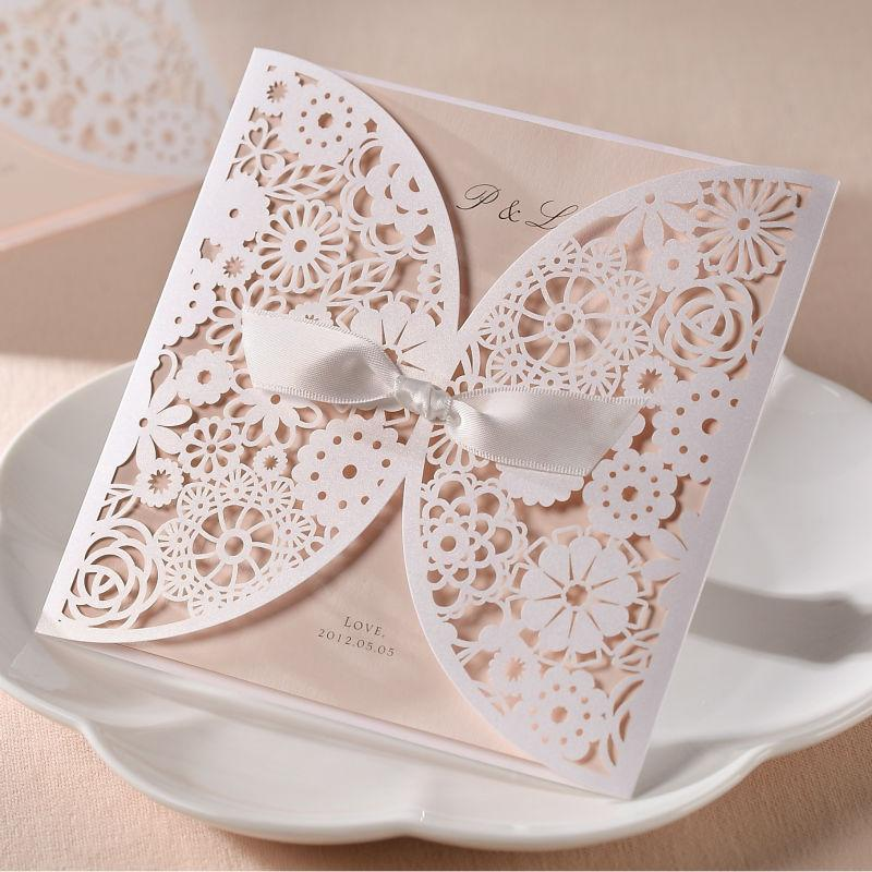 زفاف - 100 X WEDDING INVITATIONS INVITE LACE CUT OUT EFFECT + BLANK CARDS & ENVELOPES(new)