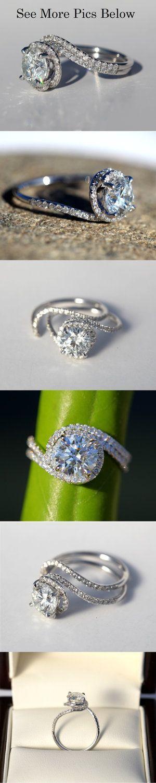 زفاف - 14k White Gold - Diamond Engagement Ring - Halo - UNIQUE - Pave - Weddings- Luxury- Brides - Bp0013