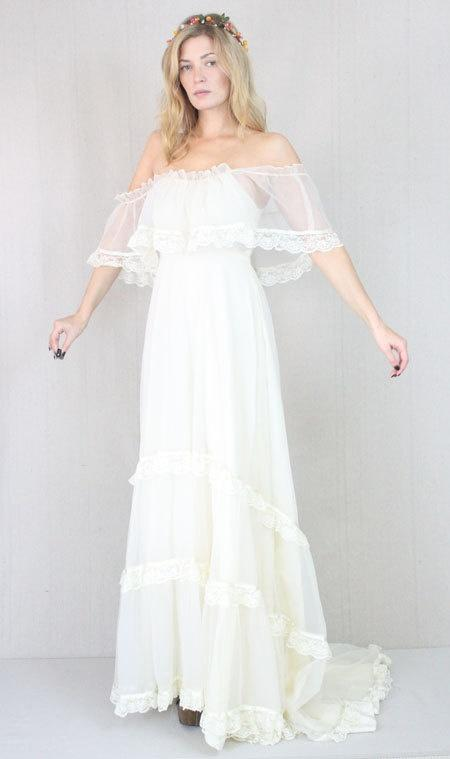 Boho Hippie Wedding Dresses Sheer Boho Hippie Wedding