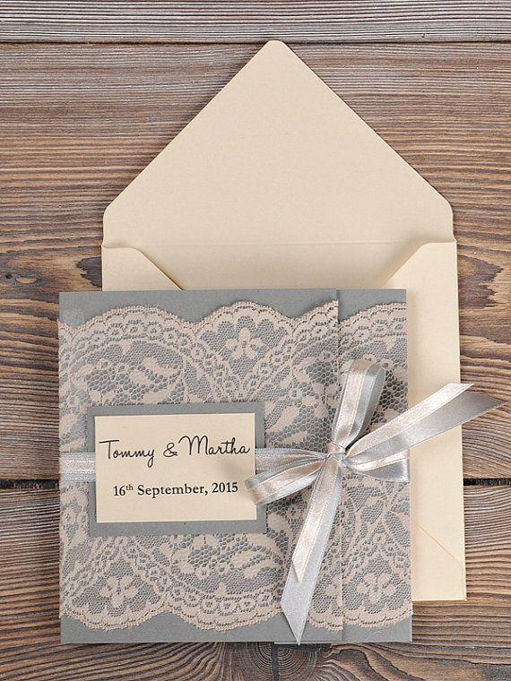 grey and peach lace wedding invitation pocket fold wedding invitations vintage wedding invitation - Wedding Invitations Vintage