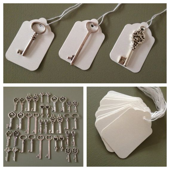 Keys To Happiness - 100 Antique Silver Skeleton Keys & 100 White ...
