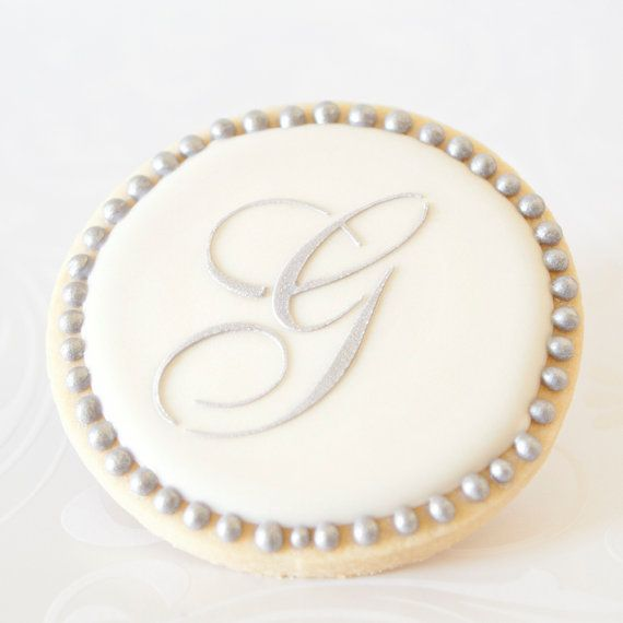 Silver Monogram Letter Wedding Cookie Favors 1 Doz Bridal Shower Vintage Script Initial Personalized Preservative Free