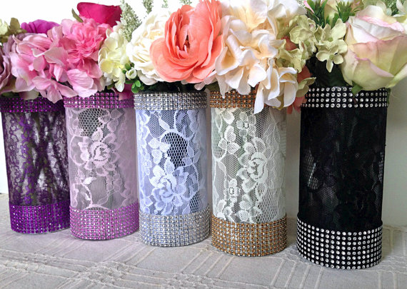 10x Lace And Rhinestone Covered Glass Vases Wedding Bridal Shower