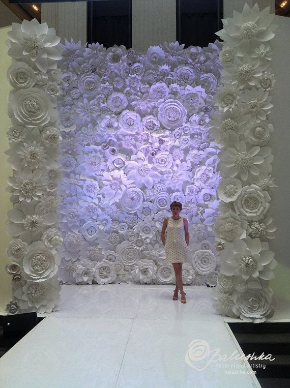 paper flower wall 11 u0026 39  x 16 u0026 39  for rental white or ivory