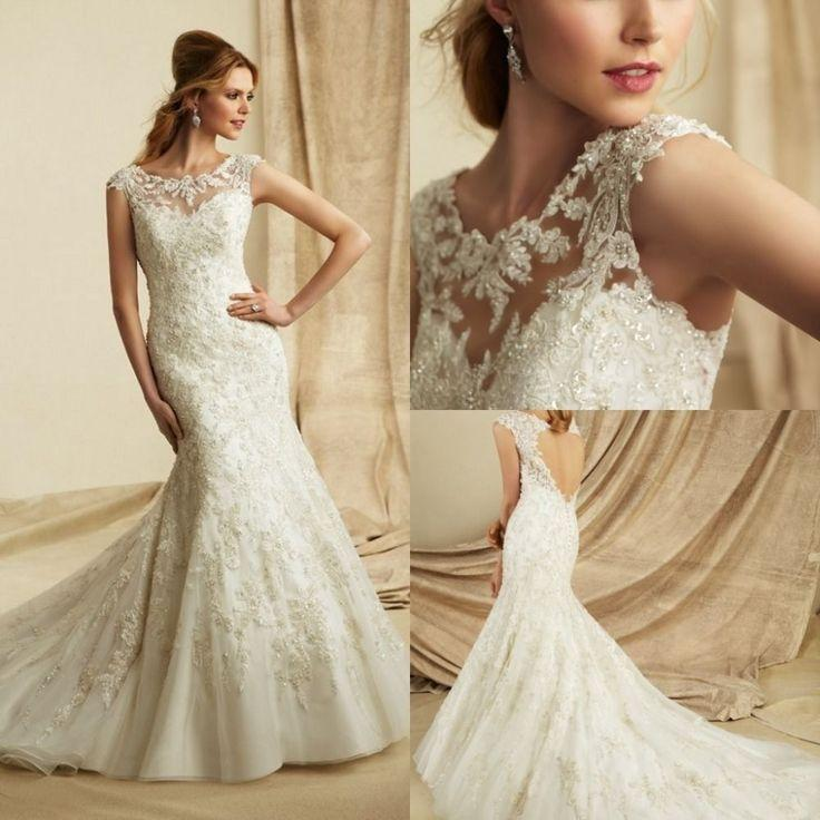 Mermaid White Ivory Lace Wedding Dress Bridal Gown Custom Size 6 8 10 12 14 16