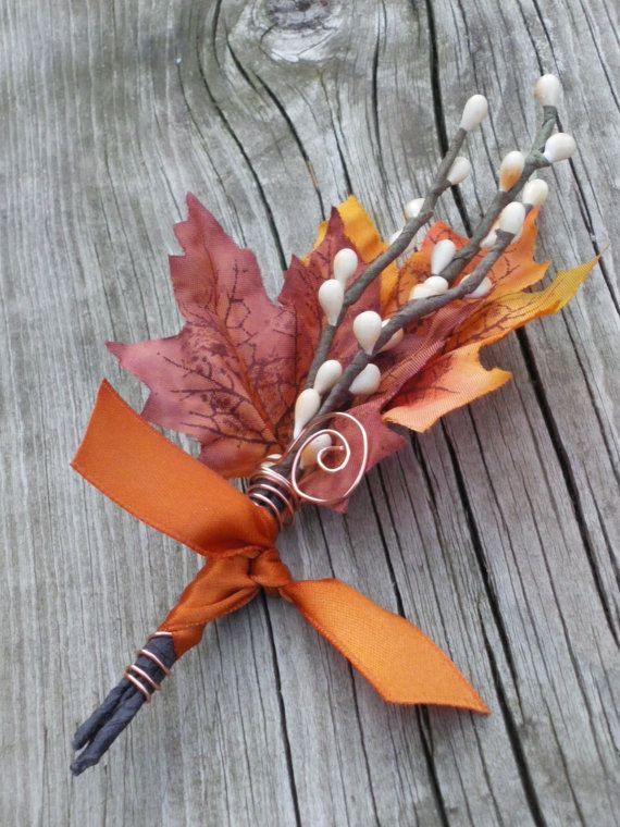 MENS Fall Wedding Boutonniere - Maple & Twigs #2160381 - Weddbook