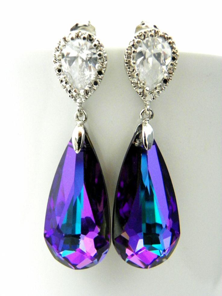 purple swarovski earrings heliotrope plum