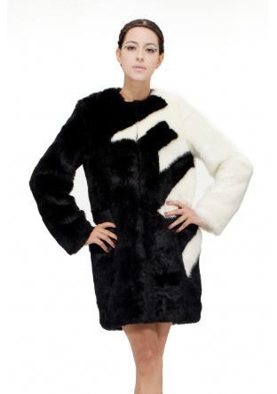 Свадьба - Black with white faux mink fur women middle length coat