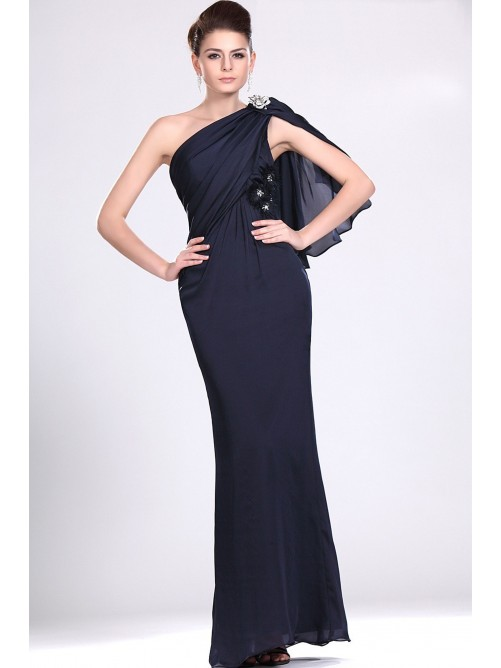 Wedding - Black one shoulder sexy black prom dresses