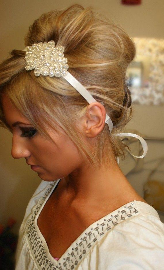 Wedding Hair With Rhinestone Headband : Wedding hair ribbon headband