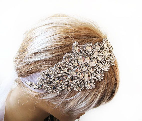 Mariage - Wedding Crystal Headband, Wedding Veil, Bridal Veil, Hair Accessory , Wedding Headpiece ,Vintage Inspired, Bridal Hair Accessories