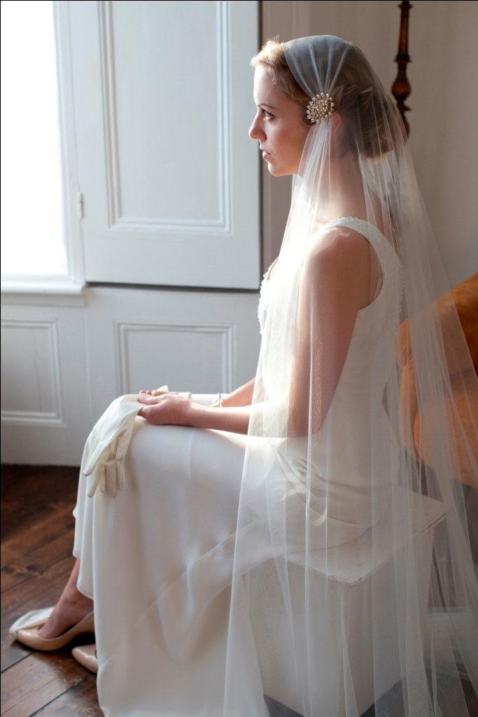 Wedding - Juliet Cap Wedding Veil. Ivory Tulle, With Removable Rhinestone Hair Clips. Flapper,1920s Veil, 1930s Veil.Agnes Hart