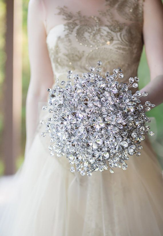 Bridal Bouquet - Luxe Sized Duo Bouquet Of Silver Mirrored Beads And ...