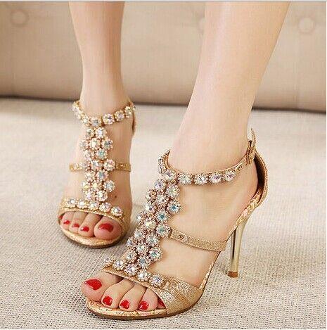 Свадьба - $54.69 Dresswe.com SUPPLIES Fashion Golden Rhinestone Ankle Strap Stiletto Dress Sandals