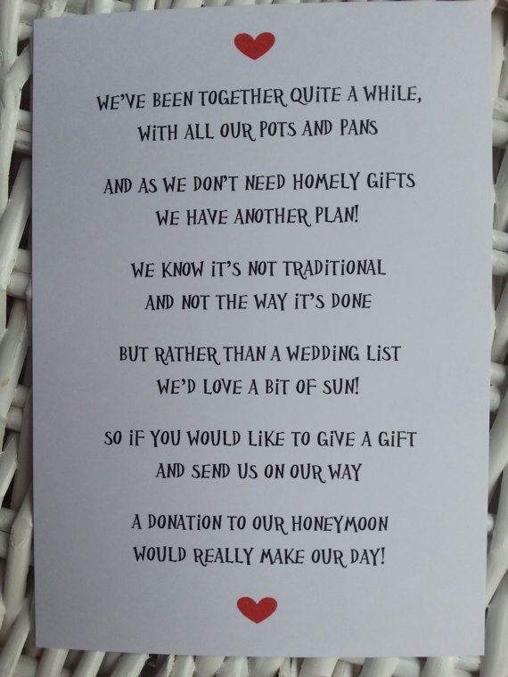 Wedding Gift List Message Funny : Wedding - Wedding Poem - Money As A Gift - 3 Different Poems