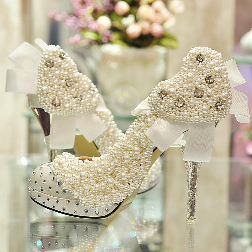 Romantic Heart Pearl Rhinestone Wedding Shoes Diy Shoes Married Formal Dress Banquet Stage Shoes Customize