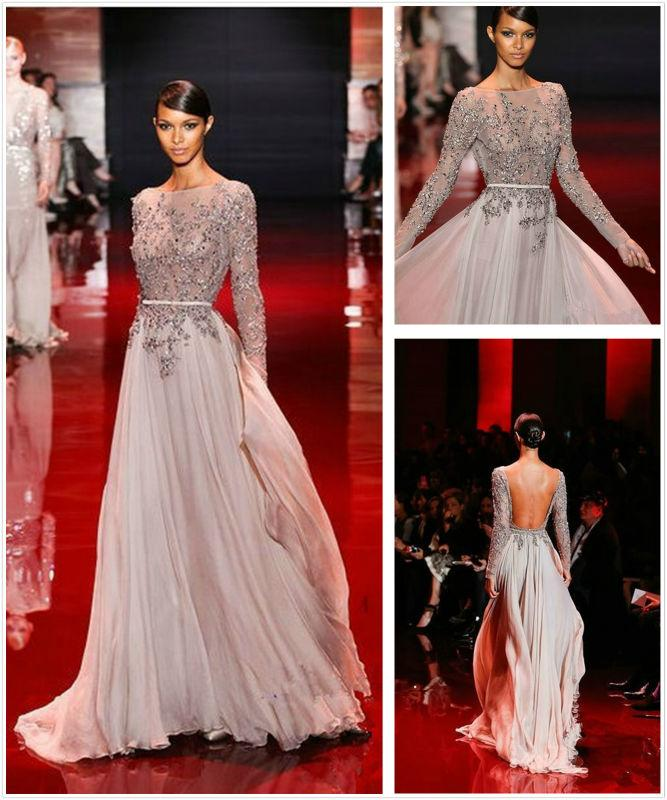 Ln 010 2017 Fall Winter Long Sleeve Open Back Floor Length Beaded Chiffon Elie Saab Dress For Haute Couture Evening