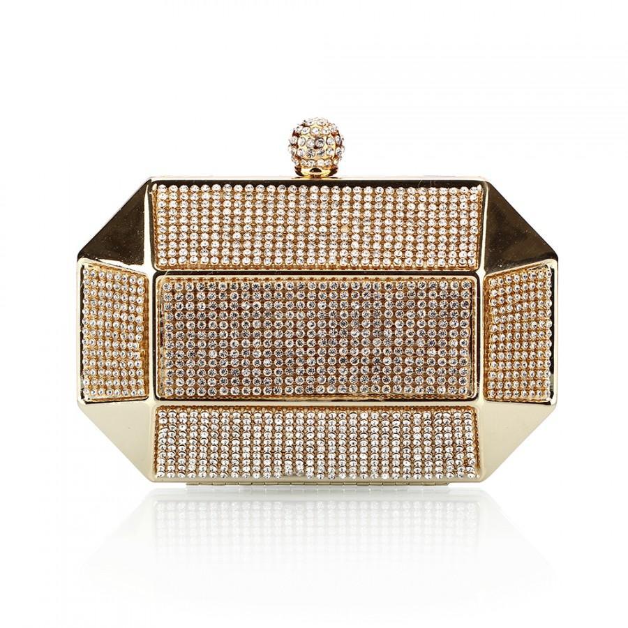 Hochzeit - Luxury Party Clutch Bag Iron Box Full Diamond Evening Bag Clutch Solid Purse Diamond Wedding Handbag  NO0182 Black Silver Gold