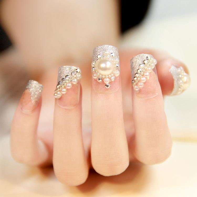Wedding - Full Diamond Pearl Fake Nails Wedding Bridal False Nail Patch Natural Finger Nail Tips