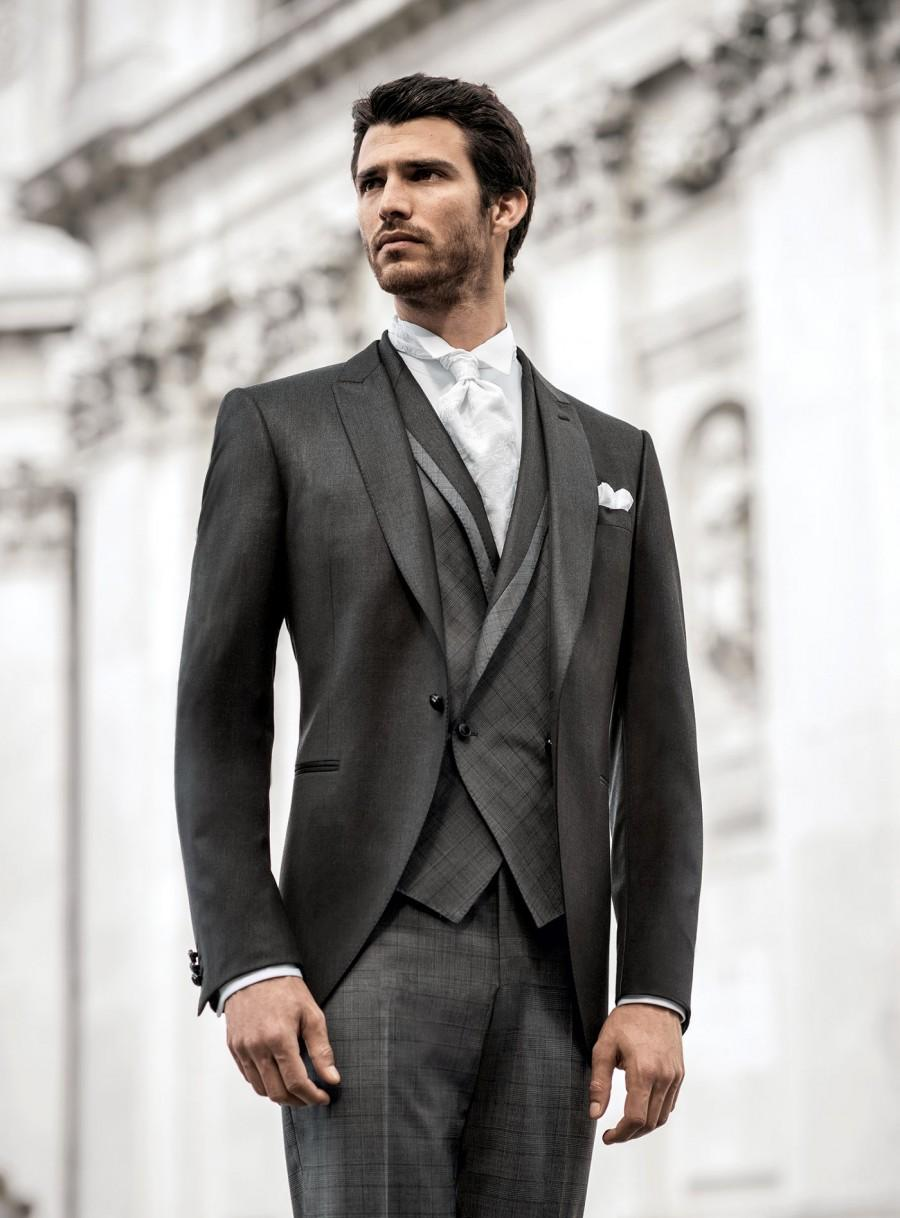 2014 Fit One Button Long Coat Grey Groom Wedding Tuxedos With Vest ...