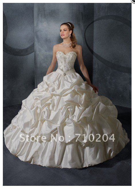 Wedding - Freeshipping 2013 Taffeta Beaded wedding dresses made in china M282-in Wedding Dresses from Apparel & Accessories on Aliexpress.com
