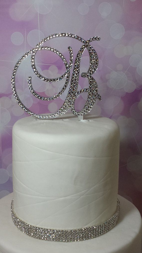 initial monogram wedding cake topper swarovski crystal rhinestone letter a b c d e f g h i j k l m n o p q r s t u v w x y z