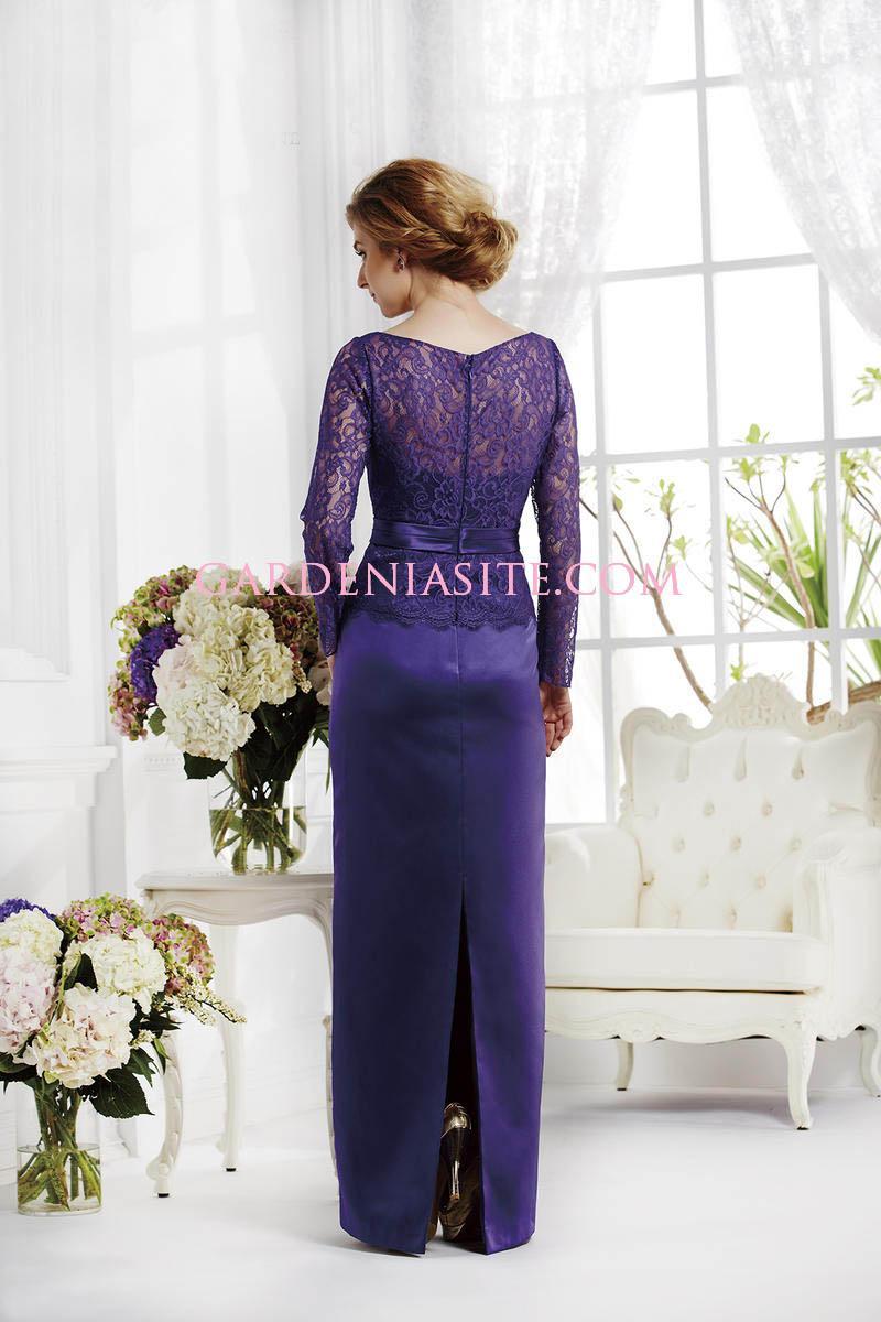 Свадьба - Sheath/Column Jewel/Scoop Floor Length Appliques Sashes/Ribbons Satin Mother of the Bride Dress 2014