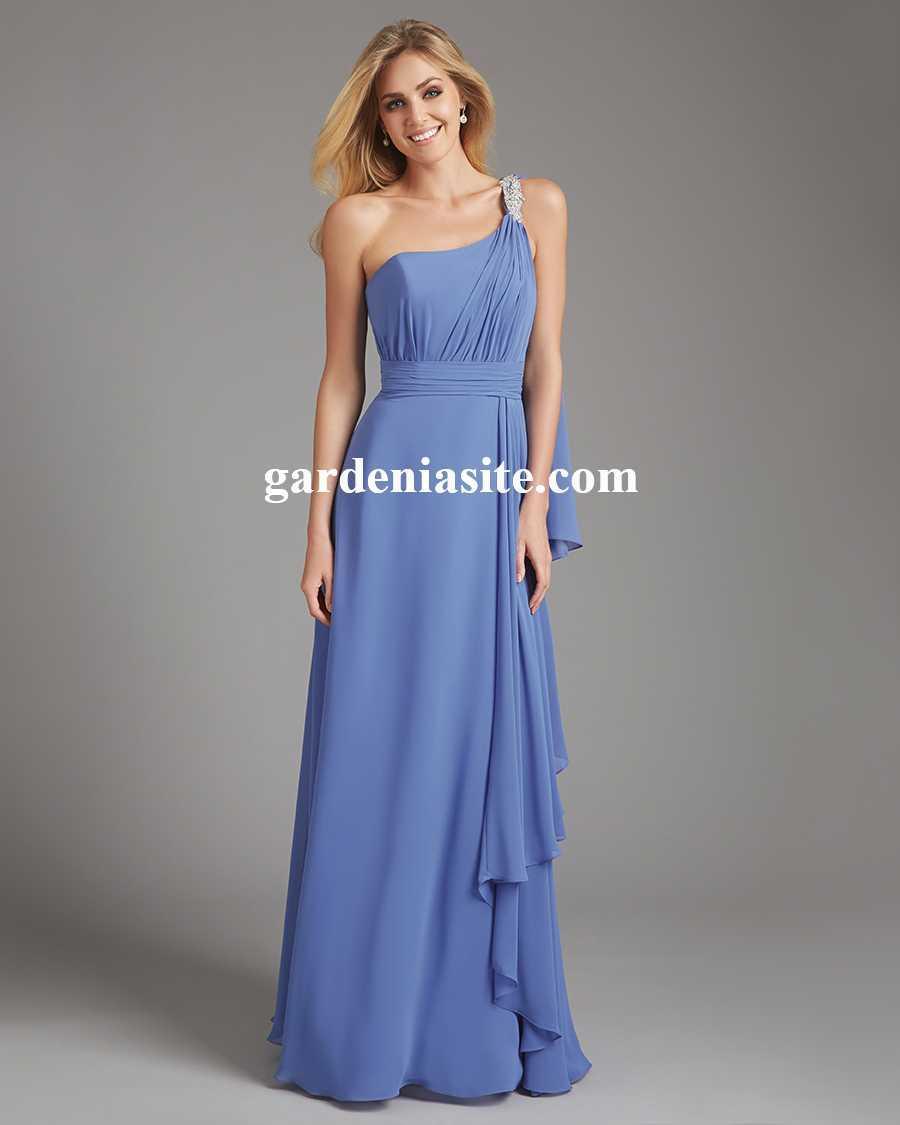 زفاف - A-line One Shoulder Floor-length Ruffles Chiffon Bridesmaid Dresses