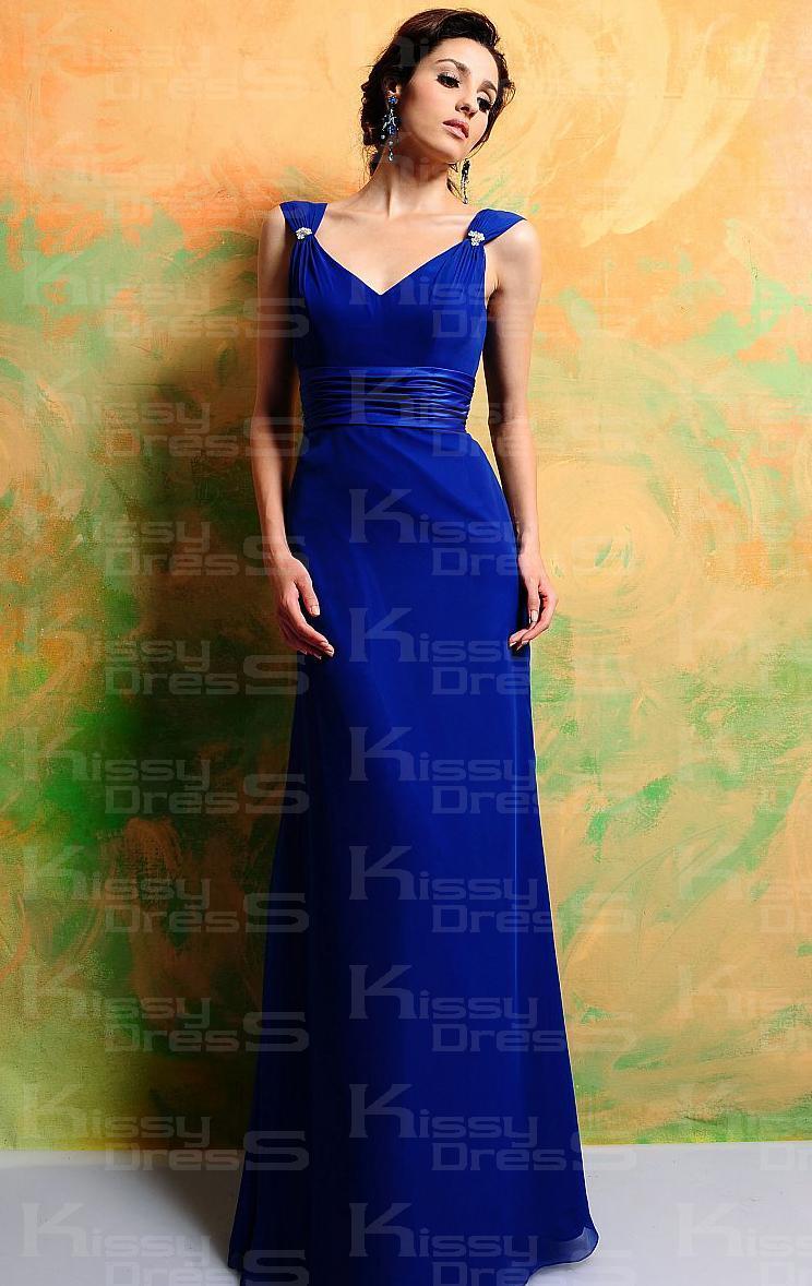 Robe de soirée femme longue bleu roi de mousseline de soie BNNAD1207