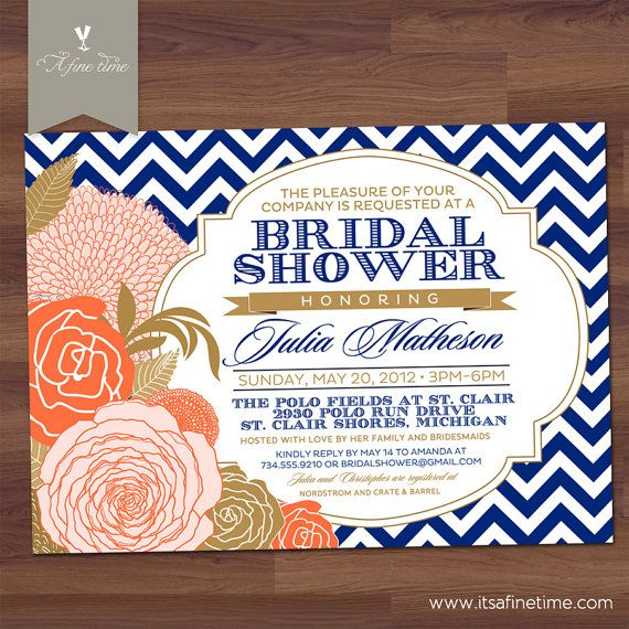 Bridal shower invitation chevron rose antique floral vintage bridal shower invitation chevron rose antique floral vintage baby shower peach coral royal navy blue gold u print filmwisefo