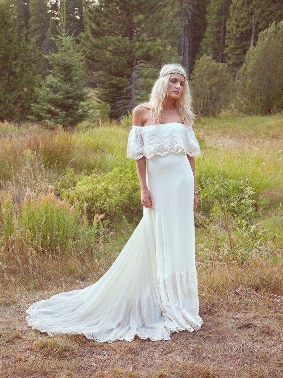Bohemian Wedding Dress 1970s Hippie Bohemian Gown Cream